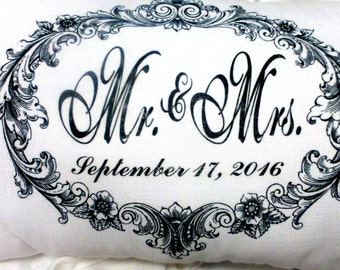 Personalized Wedding Pillow - Personalized wedding gift - Anniversary Pillow - Mr. and Mrs. Pillow - Wedding Gift - White Linen pillow