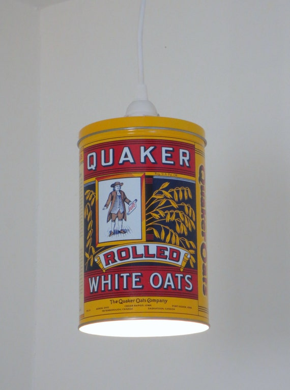 Yellow Quaker Oats printed tin plug-in pendant light