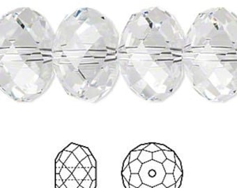 Swarovski Crystal SPACER beads 6 x4 MM CRYSTAL (12) 5040 Rondelle squashed round