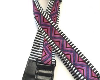 Guitar Strap Black and White webbing Purple zigzag