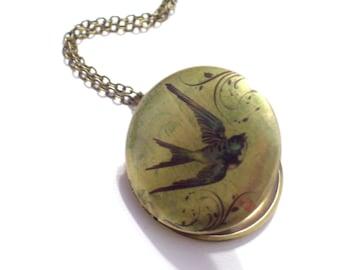 Bird Locket, Swallow Locket Pendant Necklace, Art Image Locket, Woodland Jewelry, Bird Art Locket, Round Brass Locket, Photo Locket