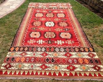 """Oversized Kilim rug, large red Kilim, 150"""" x 72.5"""", red rug, Wool  rugs, red kilim rug, kelim rug, vintage rug, bohemian rug, Turkish,"""