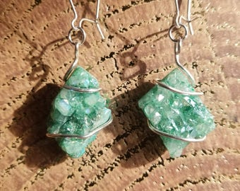 Raw Quartz Crystal Cluster (dyed green) Drop Earrings with Kidney Hoop • sterling silver • one of a kind • hand matched • recycled • dangle