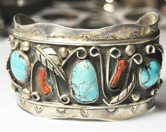 """Sterling Silver Turquoise Handcrafted Unsigned Bangle Cuff Bracelet 7"""" 50mm"""