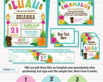 Luau Invitation - Luau Birthday Invitations - Luau Party Invitations - Luau Supplies - Luau Favors - INSTANT ACCESS - Edit with Templett