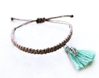 Paisley Leaf Fringe Tassel Bracelet -  Hemp Bracelet - Hemp Jewelry