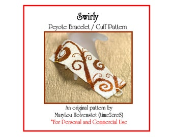 Peyote Bracelet Pattern ... SWIRLY ... Spirals . Vine . Whimsical . Bonus Pattern . Wide Cuff . Bold Design . Pretty . Feminine . 3 for 2