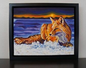 Twilight Fox – Original Framed Oil on Canvas – 11in x 14in x 1 3/8in – Animal Painting Wildlife Wall Decor – Fox