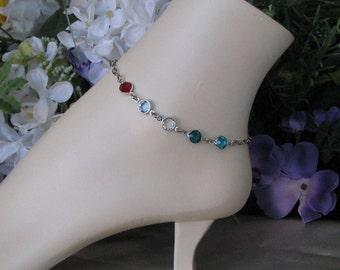 Stainless Steel Anklet-Ankle Bracelet-Multi Birthstone Anklet-5 Birthstone Anklet-Birthstone Ankle Bracelet-Birthstone Anklet, Ankle Jewelry