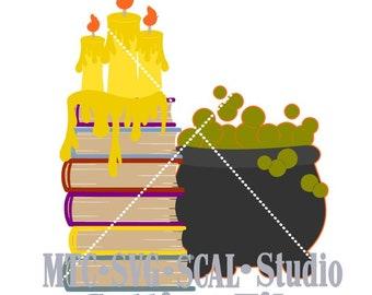SVG Cut File Halloween Witch Wizard Scene Embellishment MTC SCAL Cricut Silhouette Cutting File