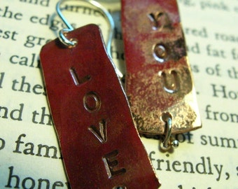Hand Stamped Earrings- LOVE YOU