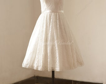 Ivory tea length vintage lace wedding dress