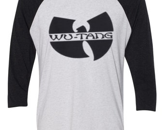 Black Logo WU-Tang Clan Hip hop Rza GZA Blackout Baseball 2 Tones RAGLAN Shirt