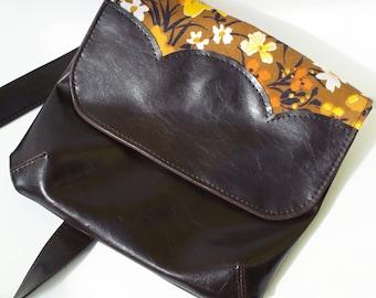 Vegan Bag, Brown Leather Purse, Vegan Leather Bag, Handmade Bag, Crossbody Bag, Cross Body Purse, Vegan Purse, Floral Handbag,