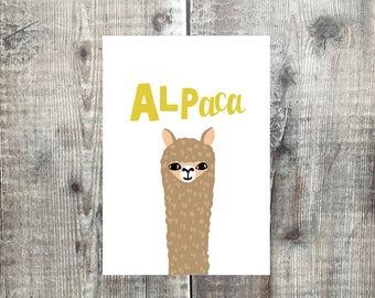Alpaca card - Animal card - Blank Card - Greetings Card - Birthday Card - Note Card - Llama card