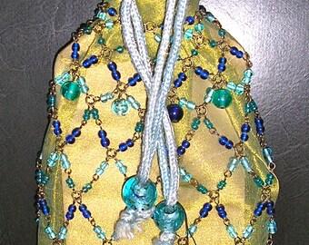 NWT, NIB, vintage Treska wine gift bag, beaded cover, wine bottle cover, MINT, new