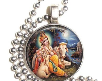 Krishna Hindu God Altered Art Pendant, Earrings and Keychain, Round Photo Silver and Resin Charm Jewelry, Krishna Earrings, Hindu Key Fob