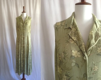 Vintage 90s maxi dress / sleeveless collared button-up green floral