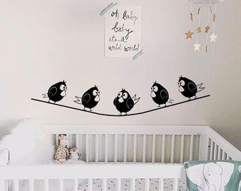 Birds on the rope wall decal-Nursery wall decals-Birds wall sticker-Angry Birds stickers-Funny vinyl decals-Nursery wall sticker-Dorm decals