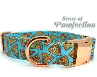 Pizza Night Blue Dog Collar with Rose Gold Hardware