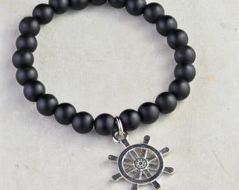 Nautical Bracelet,Ships Wheel Bracelet, Mens Bracelet Bracelet, Black Bracelet, Hipster Bracelet, Agate Bracelet, Bead Bracelet