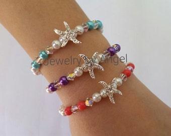 Starfish Bracelet, Beach Wedding Bracelet, Bridal Jewelry, Bridesmaid Gift, Bridal Party Gift, Starfish Jewelry, Beach Jewelry,