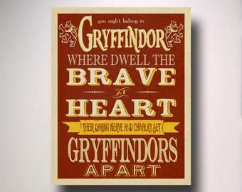 Gryffindor Poster / Harry Potter Poster / Gryffindor House Art / Wall Art / Hogwarts Houses Collection