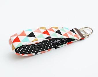 Geometrical Key Chain, Women's Key Fobs, Modern Key Fob, Fabric Key Holder, Cloth Key Wristlet - gold, blue, coral triangles