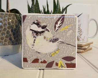 Coaster, Great-Tit Coaster, Animal Coaster, Ceramic, Tile coaster, Bird, Gift, Decor, Interior Kitchen, Animals, British Wildlife