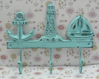 Anchor Lighthouse Sailboat Multi Wall Hook Shabby Elegance Light Beachy Blue Cast Iron Coat Leash Hat Jewelry Keys 3 Hooks