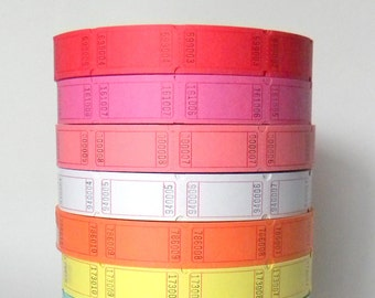 100 Numbered Plain Carnival Tickets, Prize Tickets, Numbered and Blank on Back, Circus Tickets, Pick Your Color