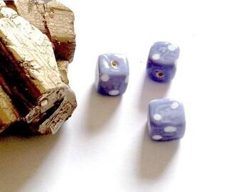 LAST SET! 3 Lampwork Glass Beads square dot mauve and white - vm4