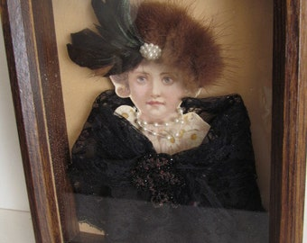 Memento Feathers and Fur Antique Victorian Shadow Box Picture Frame  Victorian Mourning Morbid