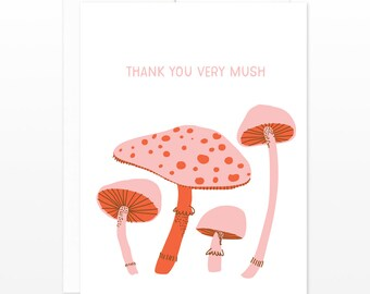 Thank You Very Mushroom Greeting Card - Punny Card, Thanks Card, Thank You Card, Funny Mushroom Card