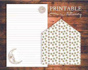 Celestial Victorian Inspired Printable Stationery Set - Instant Download Letter Writing Sheets and Envelope Liner