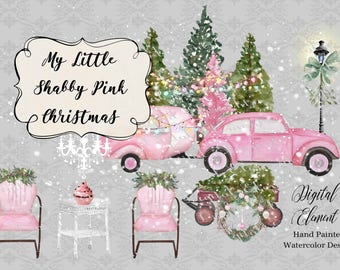 Retro Car and Camper, Camper Shabby Pink Christmas Watercolor, Pink Christmas Clip-art, Snow, Camper, VW Bug. No. WC81