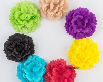 11CM 20colors Newborn Chic Peony Flower For Children Baby Girls Hair Clips Accessories Artificial Fabric Flowers For Baby Headbands