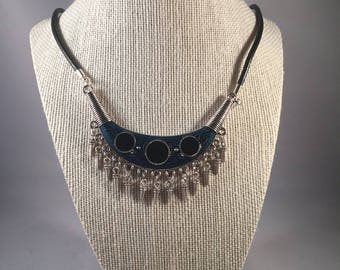 Statement Necklace, Leather Cord Necklace, Pendant Necklace, Gothic