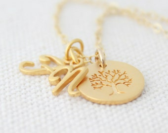 Gold Personalized Initial Charm Necklace, Family Tree Necklace, Family Tree Initial Charm Necklace, Mother's Day Gift, Tree Charm Nekclace