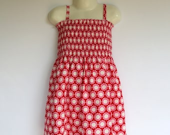 Girls Red Shirred Sun Dress - Sizes 1 to 4 avail- daisy retro flower pink