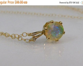 Gold Ethiopian Opal Necklace, 6mm Faceted Welo Fire Opal Gemstone, October Birthstone, 14K Gold Filled Pendant, Wedding Jewelry, Bride