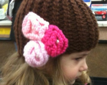 girl knitted hat, Cable knitted hat with flowers
