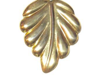 Large Vintage Goldtone Leaf Scarf Clip
