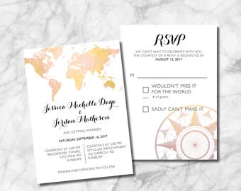World Map Wedding Invitation Set - Customize, Download and Print