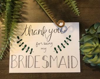 Thank you Bridesmaid Card - Hand drawn Card - Wedding Card - Bridesmaid