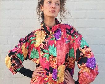 Vintage floral windbreaker, vintage bomber jacket, outdoor jacket, vintage jacket, retro jacket, vintage windbreaker, floral jacket, (GP19)