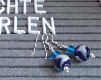 Earrings Blue Whirl Glass Silver glass Jewelry