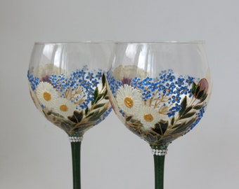 Hand painted wine glasses, spring wedding, 3rd-12th anniversary gift, peony, daisies, forget-me-not, spring flowers gift couple set of 2