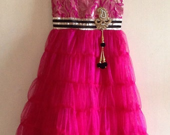 Hot pink brocade and tulle kids party gown