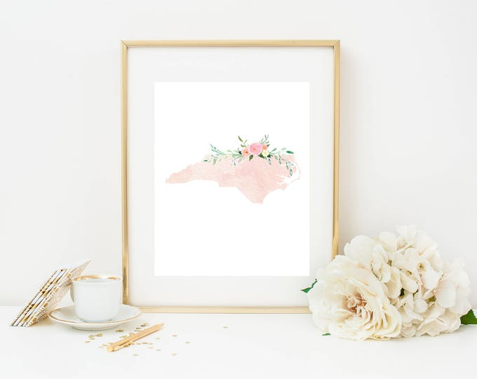 North Carolina Print, Pink Watercolor Map, North Carolina Silhouette, North Carolina Print, Nursery Dorm Decor, North Carolina Wall Art